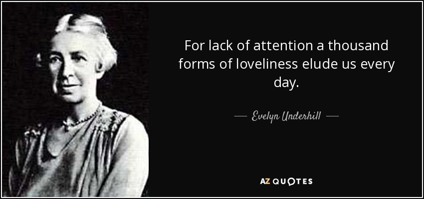For lack of attention a thousand forms of loveliness elude us every day. - Evelyn Underhill