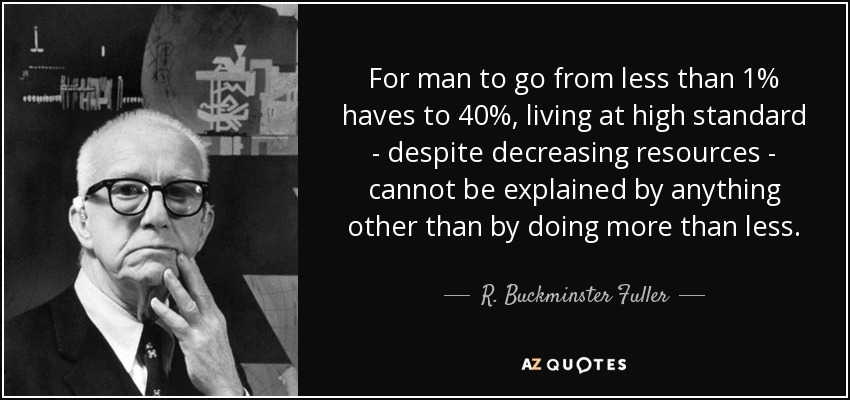 For man to go from less than 1% haves to 40%, living at high standard - despite decreasing resources - cannot be explained by anything other than by doing more than less. - R. Buckminster Fuller