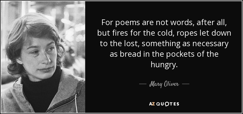 For poems are not words, after all, but fires for the cold, ropes let down to the lost, something as necessary as bread in the pockets of the hungry. - Mary Oliver