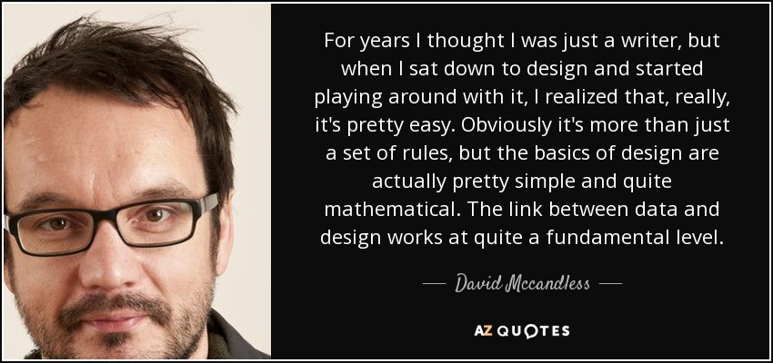 For years I thought I was just a writer, but when I sat down to design and started playing around with it, I realized that, really, it's pretty easy. Obviously it's more than just a set of rules, but the basics of design are actually pretty simple and quite mathematical. The link between data and design works at quite a fundamental level. - David Mccandless
