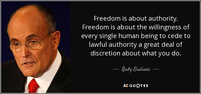 Freedom is about authority. Freedom is about the willingness of every single human being to cede to lawful authority a great deal of discretion about what you do. - Rudy Giuliani