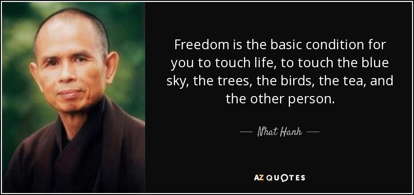 Freedom is the basic condition for you to touch life, to touch the blue sky, the trees, the birds, the tea, and the other person. - Nhat Hanh