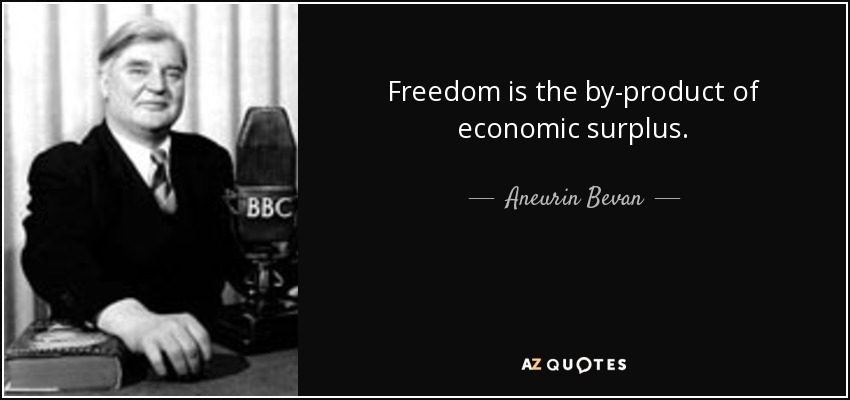 Freedom is the by-product of economic surplus. - Aneurin Bevan