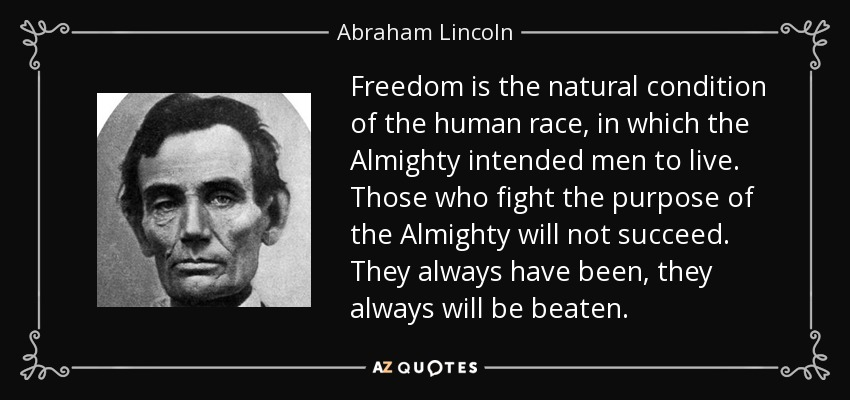 Freedom is the natural condition of the human race, in which the Almighty intended men to live. Those who fight the purpose of the Almighty will not succeed. They always have been, they always will be beaten. - Abraham Lincoln
