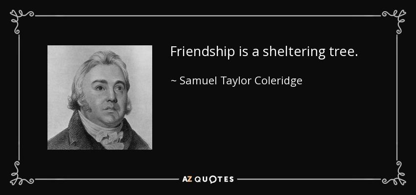 Friendship is a sheltering tree. - Samuel Taylor Coleridge
