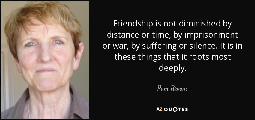 Friendship is not diminished by distance or time, by imprisonment or war, by suffering or silence. It is in these things that it roots most deeply. - Pam Brown