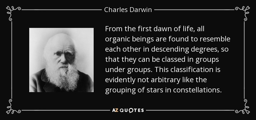 From the first dawn of life, all organic beings are found to resemble each other in descending degrees, so that they can be classed in groups under groups. This classification is evidently not arbitrary like the grouping of stars in constellations. - Charles Darwin