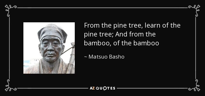 From the pine tree, learn of the pine tree; And from the bamboo, of the bamboo - Matsuo Basho