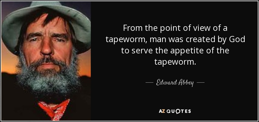 From the point of view of a tapeworm, man was created by God to serve the appetite of the tapeworm. - Edward Abbey