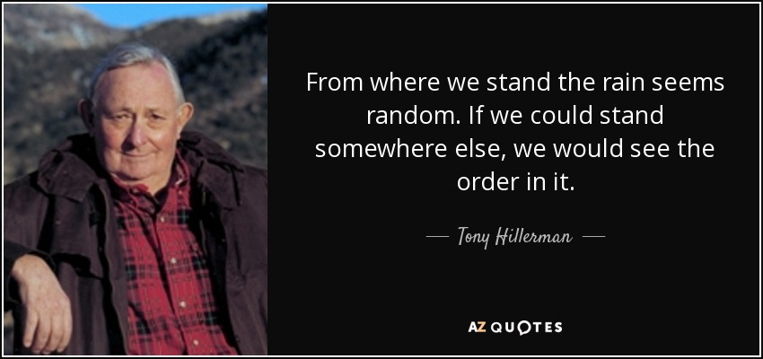 From where we stand the rain seems random. If we could stand somewhere else, we would see the order in it. - Tony Hillerman