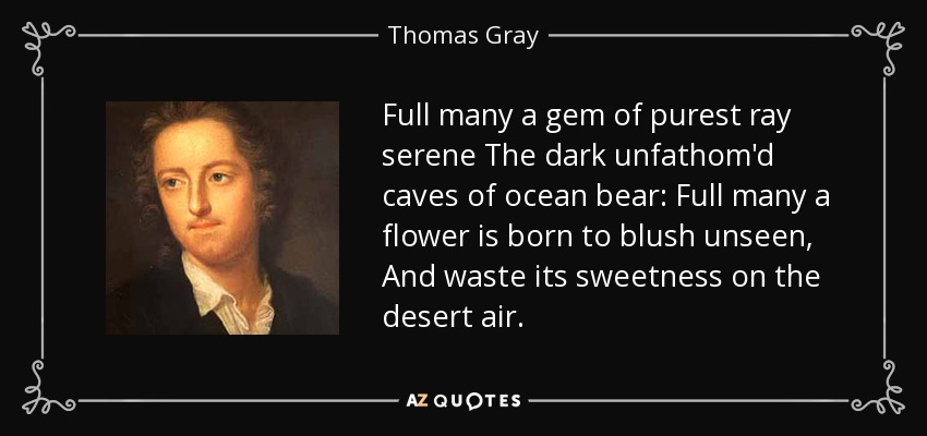 Full many a gem of purest ray serene The dark unfathom'd caves of ocean bear: Full many a flower is born to blush unseen, And waste its sweetness on the desert air. - Thomas Gray