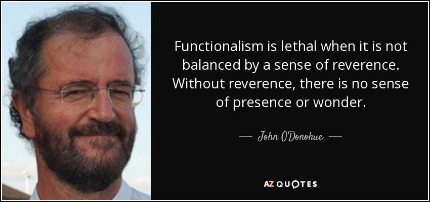 Functionalism is lethal when it is not balanced by a sense of reverence. Without reverence, there is no sense of presence or wonder. - John O'Donohue