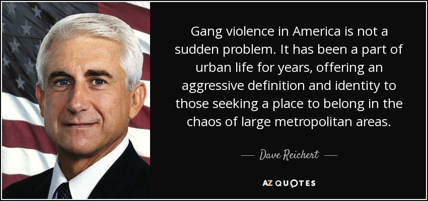 Gang violence in America is not a sudden problem. It has been a part of urban life for years, offering an aggressive definition and identity to those seeking a place to belong in the chaos of large metropolitan areas. - Dave Reichert