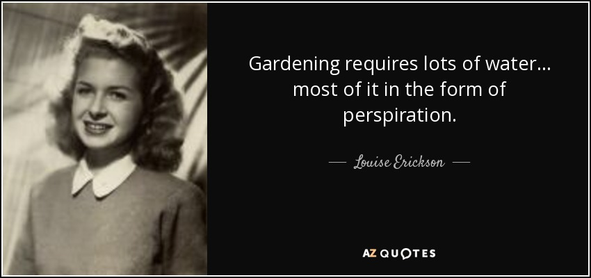 Gardening requires lots of water... most of it in the form of perspiration. - Louise Erickson