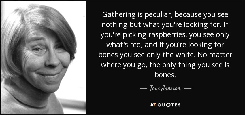 Gathering is peculiar, because you see nothing but what you're looking for. If you're picking raspberries, you see only what's red, and if you're looking for bones you see only the white. No matter where you go, the only thing you see is bones. - Tove Jansson
