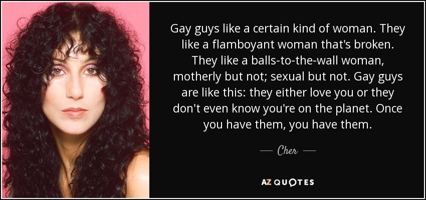 Cher Quote Gay Guys Like A Certain Kind Of Woman They Like