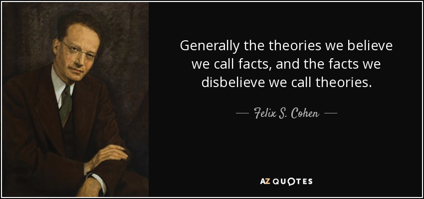 Generally the theories we believe we call facts, and the facts we disbelieve we call theories. - Felix S. Cohen