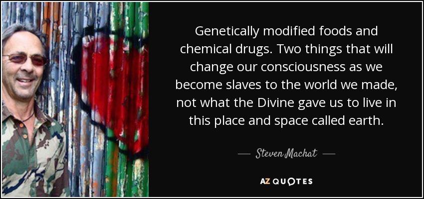 Genetically modified foods and chemical drugs. Two things that will change our consciousness as we become slaves to the world we made, not what the Divine gave us to live in this place and space called earth. - Steven Machat