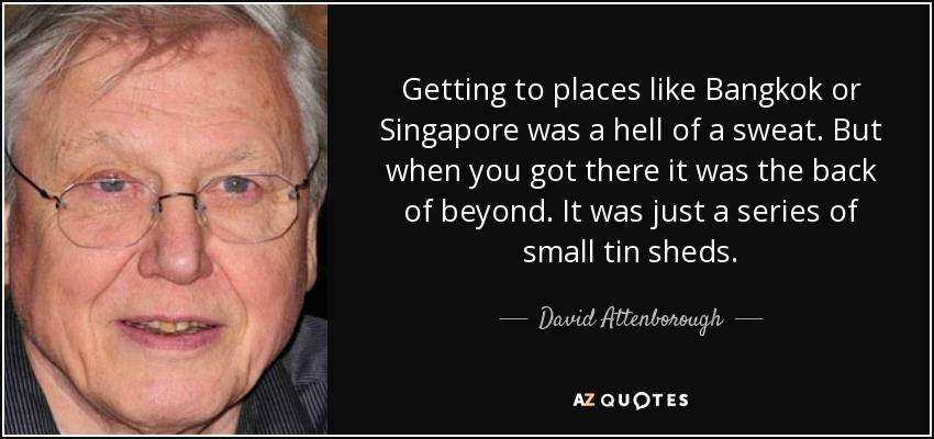 Getting to places like Bangkok or Singapore was a hell of a sweat. But when you got there it was the back of beyond. It was just a series of small tin sheds. - David Attenborough