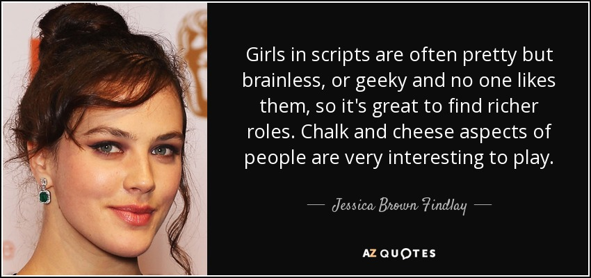 Jessica Brown Findlay quote: Girls in scripts are often