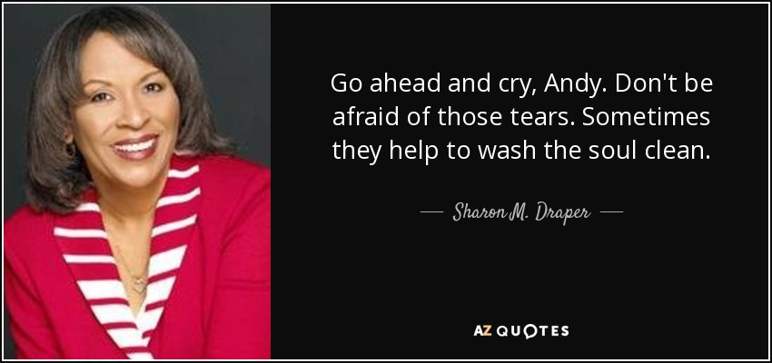 Go ahead and cry, Andy. Don't be afraid of those tears. Sometimes they help to wash the soul clean. - Sharon M. Draper