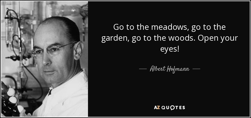 Go to the meadows, go to the garden, go to the woods. Open your eyes! - Albert Hofmann