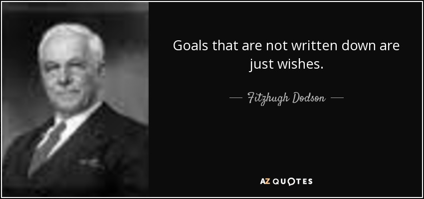 Goals that are not written down are just wishes. - Fitzhugh Dodson