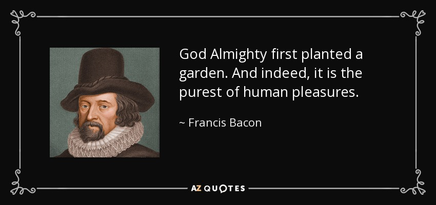 God Almighty first planted a garden. And indeed, it is the purest of human pleasures. - Francis Bacon