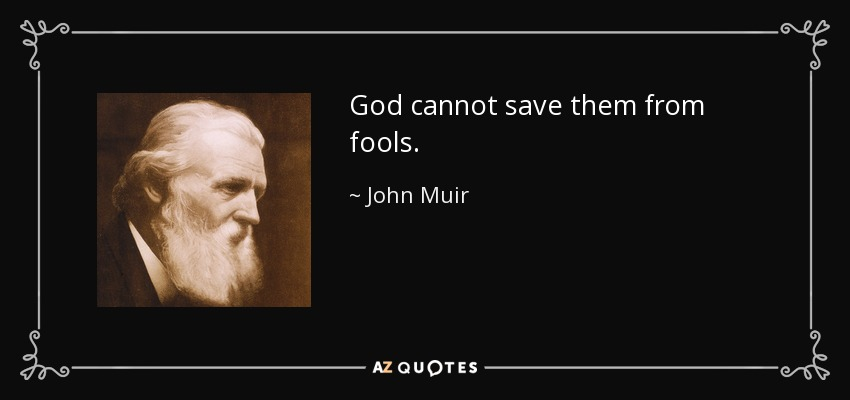 God cannot save them from fools. - John Muir