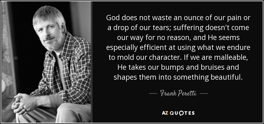 God does not waste an ounce of our pain or a drop of our tears; suffering doesn't come our way for no reason, and He seems especially efficient at using what we endure to mold our character. If we are malleable, He takes our bumps and bruises and shapes them into something beautiful. - Frank Peretti