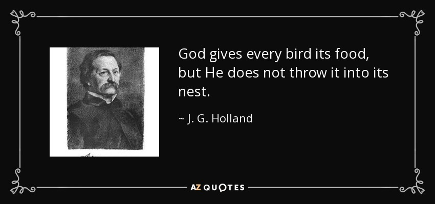 God gives every bird its food, but He does not throw it into its nest. - J. G. Holland