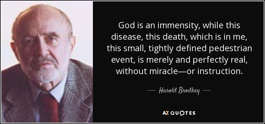 God is an immensity, while this disease, this death, which is in me, this small, tightly defined pedestrian event, is merely and perfectly real, without miracle—or instruction. - Harold Brodkey