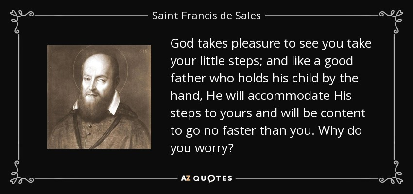 God takes pleasure to see you take your little steps; and like a good father who holds his child by the hand, He will accommodate His steps to yours and will be content to go no faster than you. Why do you worry? - Saint Francis de Sales