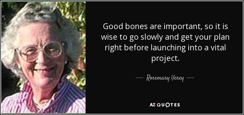 Good bones are important, so it is wise to go slowly and get your plan right before launching into a vital project. - Rosemary Verey