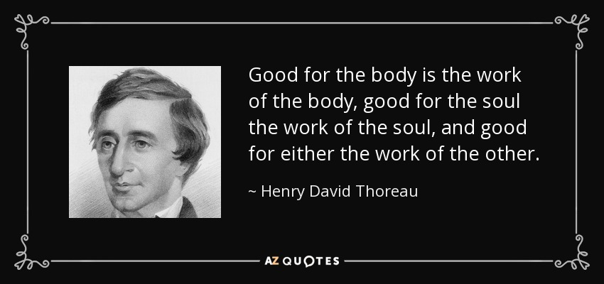 Good for the body is the work of the body, good for the soul the work of the soul, and good for either the work of the other. - Henry David Thoreau