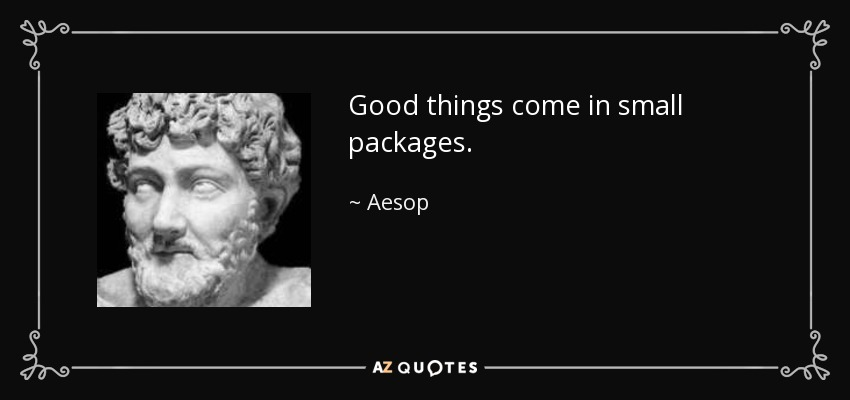 Aesop Quote Good Things Come In Small Packages