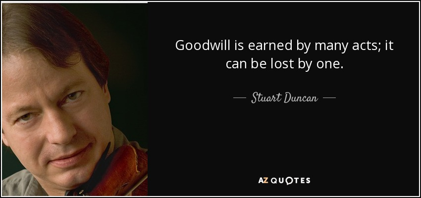 Goodwill is earned by many acts; it can be lost by one. - Stuart Duncan