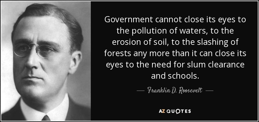 Government cannot close its eyes to the pollution of waters, to the erosion of soil, to the slashing of forests any more than it can close its eyes to the need for slum clearance and schools. - Franklin D. Roosevelt