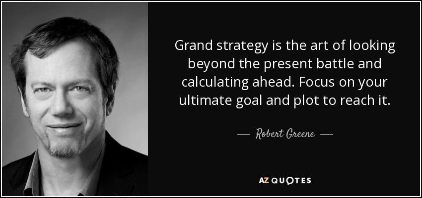 Grand strategy is the art of looking beyond the present battle and calculating ahead. Focus on your ultimate goal and plot to reach it. - Robert Greene