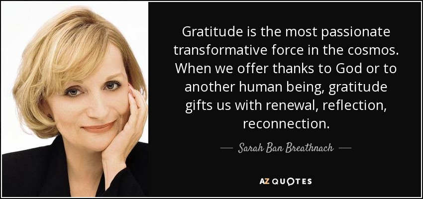 Gratitude is the most passionate transformative force in the cosmos. When we offer thanks to God or to another human being, gratitude gifts us with renewal, reflection, reconnection. - Sarah Ban Breathnach