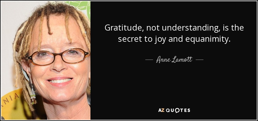 Gratitude, not understanding, is the secret to joy and equanimity. - Anne Lamott