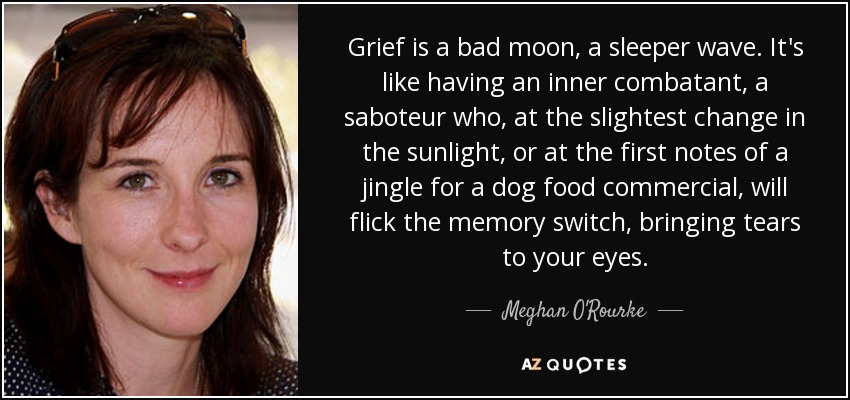 Grief is a bad moon, a sleeper wave. It's like having an inner combatant, a saboteur who, at the slightest change in the sunlight, or at the first notes of a jingle for a dog food commercial, will flick the memory switch, bringing tears to your eyes. - Meghan O'Rourke