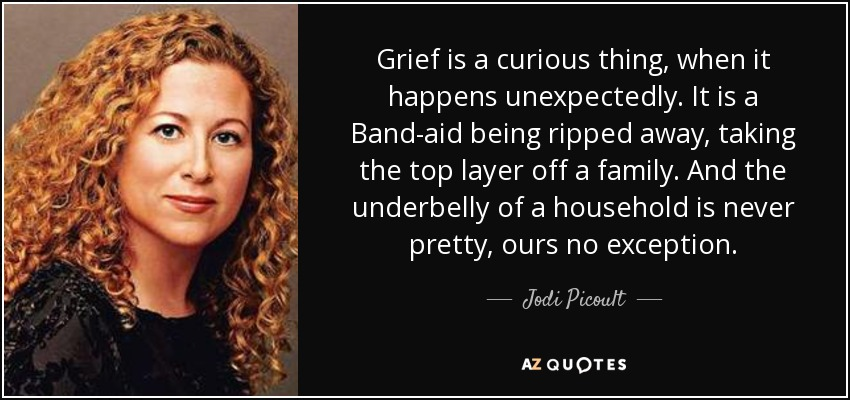 Grief is a curious thing, when it happens unexpectedly. It is a Band-aid being ripped away, taking the top layer off a family. And the underbelly of a household is never pretty, ours no exception. - Jodi Picoult