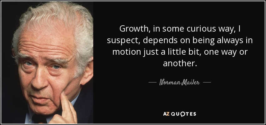 Growth, in some curious way, I suspect, depends on being always in motion just a little bit, one way or another. - Norman Mailer