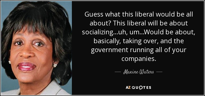 Guess what this liberal would be all about? This liberal will be about socializing...uh, um...Would be about, basically, taking over, and the government running all of your companies. - Maxine Waters