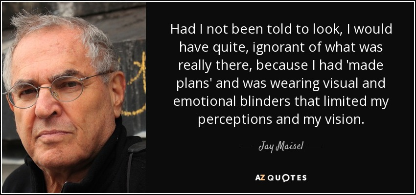 Had I not been told to look, I would have quite, ignorant of what was really there, because I had 'made plans' and was wearing visual and emotional blinders that limited my perceptions and my vision. - Jay Maisel