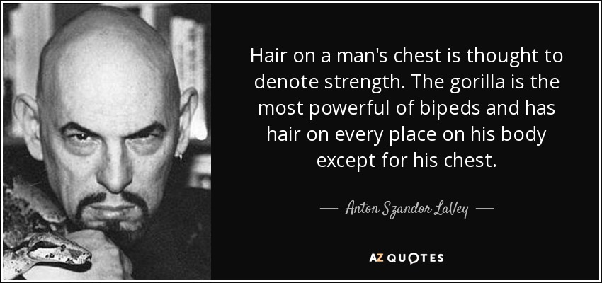 Hair on a man's chest is thought to denote strength. The gorilla is the most powerful of bipeds and has hair on every place on his body except for his chest. - Anton Szandor LaVey