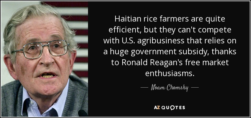Haitian rice farmers are quite efficient, but they can't compete with U.S. agribusiness that relies on a huge government subsidy, thanks to Ronald Reagan's free market enthusiasms. - Noam Chomsky