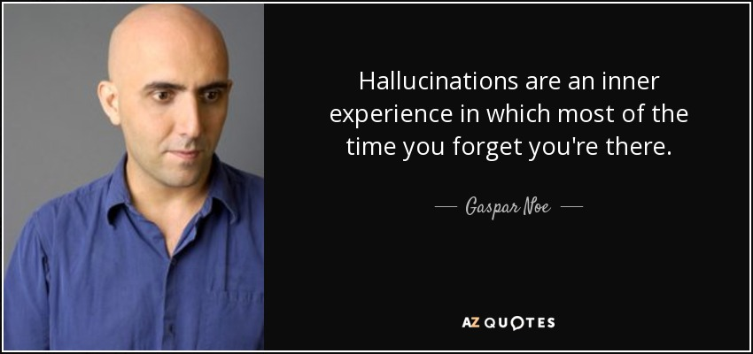 Hallucinations are an inner experience in which most of the time you forget you're there. - Gaspar Noe