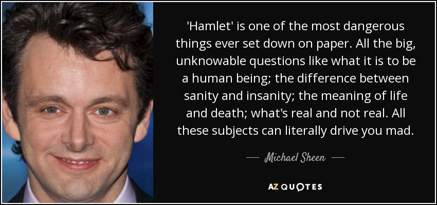 'Hamlet' is one of the most dangerous things ever set down on paper. All the big, unknowable questions like what it is to be a human being; the difference between sanity and insanity; the meaning of life and death; what's real and not real. All these subjects can literally drive you mad. - Michael Sheen